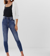 Stradivarius super high waist skinny jean in mid blue