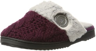 Dearfoams Women's Cable Knit Closed Toe Scuff w/Plush Cuff Open Back Slippers