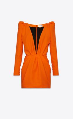 Saint Laurent Dresses Plunging V-neck Mini Dress In Gabardine Fluo Tangerine 10
