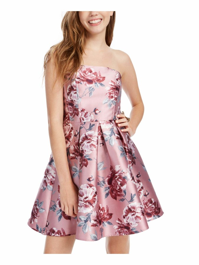 Speechless Womens Pink Floral Strapless Short Fit + Flare Dress Juniors UK Size:4