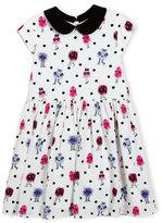 Kate Spade Kimberly Cap-Sleeve Smocked Monster Dress, Multicolor, Size 2-6