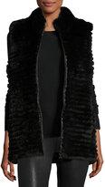 Gorski Quilted Rabbit Fur Reversible Down Vest, Black