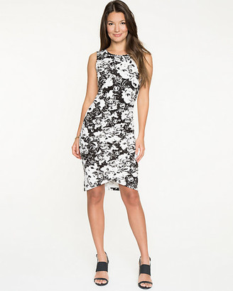 Le Château Floral Ponte Crew Neck Dress