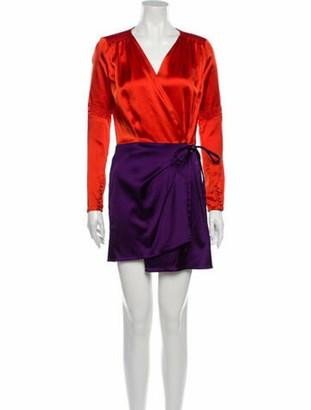 ATTICO V-Neck Mini Dress Orange