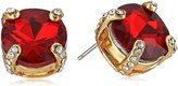 T Tahari Round Siam Crystal Button Stud Earrings
