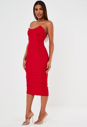 Missguided Red Scuba Crepe Ruched Side Midaxi Dress