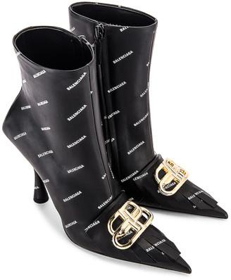 Balenciaga Logo BB Fringe Knife Boots in Black & White & Gold | FWRD