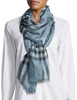 Burberry Gauze Giant Check Scarf, Light Blue