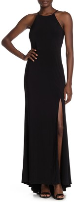 Jump Halter Neck Front Slit Jersey Gown