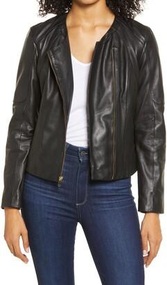 Cole Haan Asymmetrical Zip Leather Jacket