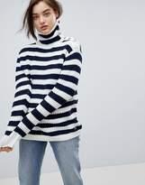Pepe Jeans Stripe Funnel Neck Wool Blend Sweater