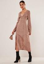 Missguided Blush Daisy Print Plunge Split Midi Dress