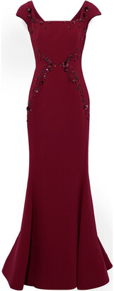 Zac Posen Fluted Embellished Crepe Gown