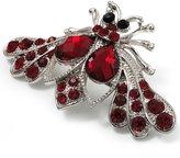 Avalaya Burgundy Red Crystal Moth Brooch (Silver Tone)
