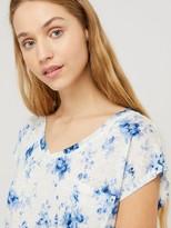 Monsoon Lucia Printed Linen T-shirt - Ivory