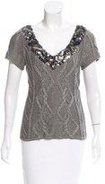 Catherine Malandrino Embellished Short Sleeve Sweater w/ Tags