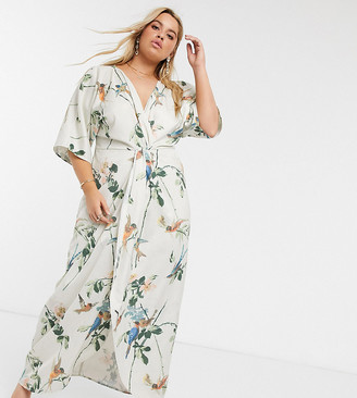 Hope & Ivy Plus kimono maxi dress in swallow floral print