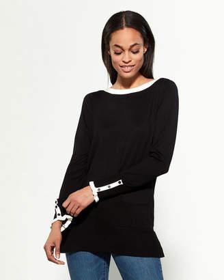 Cable & Gauge Black & Ivory Long Sleeve Boatneck Tunic Sweater
