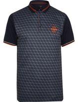 River Island Mens Navy print colour block slim fit polo shirt