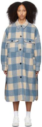 Isabel Marant Etoile Beige & Blue Check Fontizi Coat