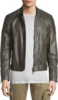 Belstaff Lightweight Leather Jacket W/Quilted Panels, Combat Green