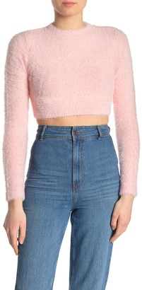 Dee Elly Fuzzy Long Sleeve Crop Top
