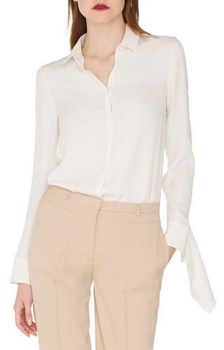 Akris Long-Sleeve Button-Down Silk Crepe Blouse with Draped Cuffs