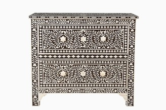 Empress Homewares Samar Florentine Bone Inlay 2 Drawer Chest Brown