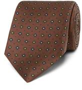 Drakes Drake's - Easyday 7cm Patterned Silk Tie - Dark brown
