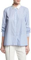 Brunello Cucinelli Striped Cotton Blouse w/Satin Collar, Multi