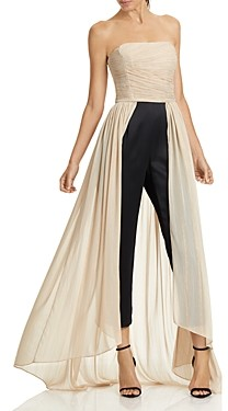 Halston Strapless Ruched Dramatic Pleated Jumpsuit