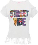 M&Co Slogan cold shoulder fringe t-shirt