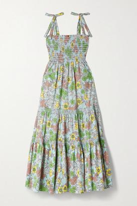 Tory Burch Tiered Shirred Floral-print Cotton-blend Poplin Maxi Dress - Blue