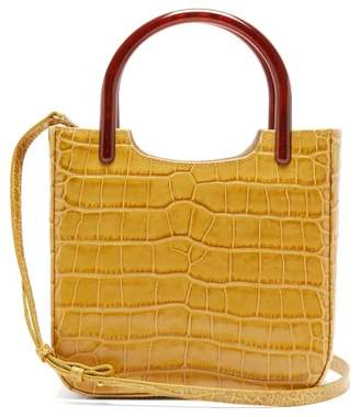BY FAR Eric Crocodile-effect Leather Cross-body Bag - Womens - Yellow Multi