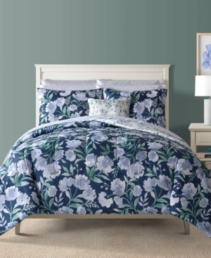 Sunham Bella Blue 12-Pc. Reversible King Comforter Set Bedding