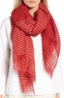 womens eileen fisher stripe organic cotton linen scarf