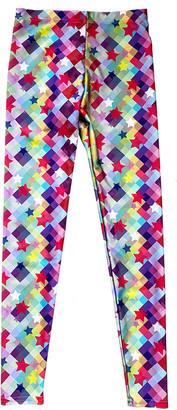 Terez Girl's Checker Stars Printed Leggings, Size 4-6X