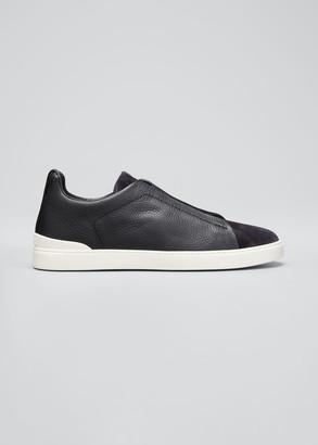 Ermenegildo Zegna Men's Triple-Stitch Mix-Leather Slip-On Sneakers, Navy
