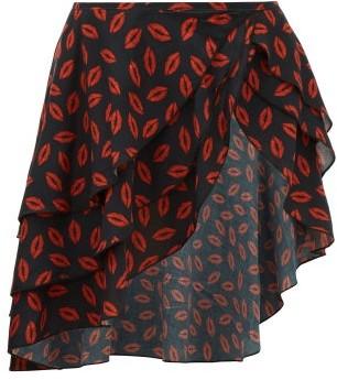 Leslie Amon Maya Lip-print Cotton Wrap Skirt - Red Print