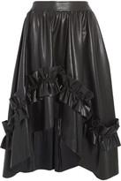 Cédric Charlier Asymmetric Ruffle-trimmed Faux Leather Skirt - Black
