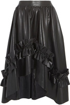 Cédric Charlier Asymmetric Ruffle-trimmed Faux Leather Skirt