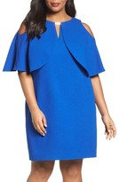 London Times Plus Size Women's Cold Shoulder Cape Dress