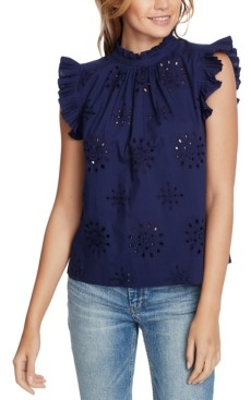 1 STATE Eyelet-Embroidered Pleated Top
