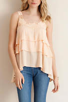 Entro Peach Tiered Sleeveless Top