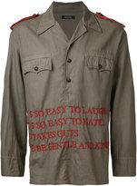 Christian Dada embroidered text shirt jacket - men - Cotton/Linen/Flax - 48