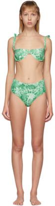 Ganni Green and White Patina Bikini