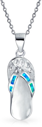 Bling Jewelry Rhodium Plated Sterling Silver Flip Flop Sandal Pendant Necklace