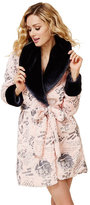 Betsey Johnson Rock This House Faux Fur Collar Robe
