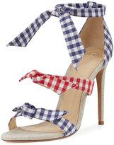 Alexandre Birman Lolita Gingham Three-Strap Sandal, Blue/Red