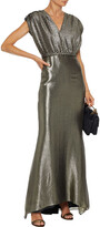 Thumbnail for your product : Max Mara Bacio Belted Paneled Plisse-lame Gown